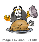 #24139 Clip Art Graphic Of An Ice Hockey Puck Cartoon Character Serving A Thanksgiving Turkey On A Platter