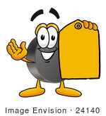 #24140 Clip Art Graphic Of An Ice Hockey Puck Cartoon Character Holding A Yellow Sales Price Tag