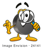 #24141 Clip Art Graphic Of An Ice Hockey Puck Cartoon Character Looking Through A Magnifying Glass