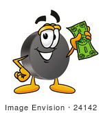 #24142 Clip Art Graphic of an Ice Hockey Puck Cartoon Character Holding a Dollar Bill by toons4biz