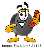 #24143 Clip Art Graphic Of An Ice Hockey Puck Cartoon Character Holding A Telephone