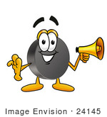 #24145 Clip Art Graphic Of An Ice Hockey Puck Cartoon Character Holding A Megaphone