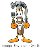 #24151 Clip Art Graphic Of A Hammer Tool Cartoon Character Holding A Knife And Fork