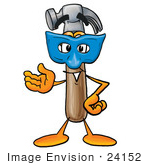#24152 Clip Art Graphic of a Hammer Tool Cartoon Character Wearing a Blue Mask Over His Face by toons4biz