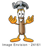 #24161 Clip Art Graphic Of A Hammer Tool Cartoon Character With Welcoming Open Arms