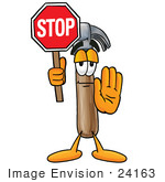 #24163 Clip Art Graphic Of A Hammer Tool Cartoon Character Holding A Stop Sign