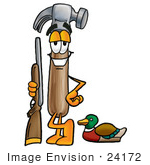 #24172 Clip Art Graphic Of A Hammer Tool Cartoon Character Duck Hunting Standing With A Rifle And Duck
