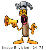 #24173 Clip Art Graphic Of A Hammer Tool Cartoon Character Screaming Into A Megaphone