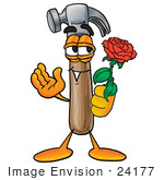 #24177 Clip Art Graphic Of A Hammer Tool Cartoon Character Holding A Red Rose On Valentines Day