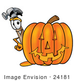 #24181 Clip Art Graphic Of A Hammer Tool Cartoon Character With A Carved Halloween Pumpkin