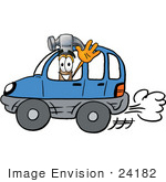 #24182 Clip Art Graphic of a Hammer Tool Cartoon Character Driving a Blue Car and Waving by toons4biz