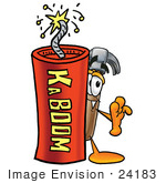 #24183 Clip Art Graphic Of A Hammer Tool Cartoon Character Standing With A Lit Stick Of Dynamite