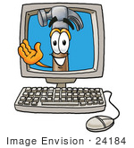 #24184 Clip Art Graphic Of A Hammer Tool Cartoon Character Waving From Inside A Computer Screen