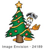 #24189 Clip Art Graphic of a Hammer Tool Cartoon Character Waving and Standing by a Decorated Christmas Tree by toons4biz