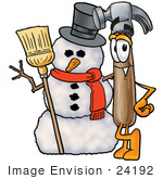#24192 Clip Art Graphic Of A Hammer Tool Cartoon Character With A Snowman On Christmas