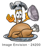 #24200 Clip Art Graphic Of A Hammer Tool Cartoon Character Serving A Thanksgiving Turkey On A Platter