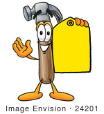 #24201 Clip Art Graphic Of A Hammer Tool Cartoon Character Holding A Yellow Sales Price Tag