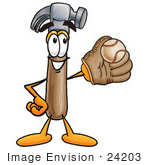 #24203 Clip Art Graphic Of A Hammer Tool Cartoon Character Catching A Baseball With A Glove