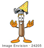 #24205 Clip Art Graphic Of A Hammer Tool Cartoon Character Wearing A Birthday Party Hat