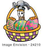 #24210 Clip Art Graphic Of A Hammer Tool Cartoon Character In An Easter Basket Full Of Decorated Easter Eggs