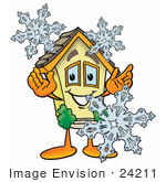 #24211 Clip Art Graphic Of A Yellow Residential House Cartoon Character With Three Snowflakes In Winter