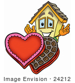#24212 Clip Art Graphic Of A Yellow Residential House Cartoon Character With An Open Box Of Valentines Day Chocolate Candies
