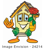#24214 Clip Art Graphic Of A Yellow Residential House Cartoon Character Holding A Red Rose On Valentines Day