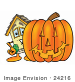 #24216 Clip Art Graphic Of A Yellow Residential House Cartoon Character With A Carved Halloween Pumpkin