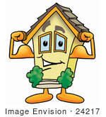 #24217 Clip Art Graphic of a Yellow Residential House Cartoon Character Flexing His Arm Muscles by toons4biz