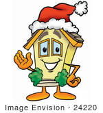 #24220 Clip Art Graphic Of A Yellow Residential House Cartoon Character Wearing A Santa Hat And Waving