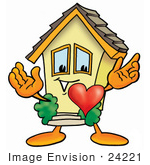 #24221 Clip Art Graphic Of A Yellow Residential House Cartoon Character With His Heart Beating Out Of His Chest