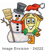 #24222 Clip Art Graphic Of A Yellow Residential House Cartoon Character With A Snowman On Christmas