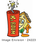 #24223 Clip Art Graphic Of A Yellow Residential House Cartoon Character Standing With A Lit Stick Of Dynamite
