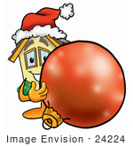 #24224 Clip Art Graphic Of A Yellow Residential House Cartoon Character Wearing A Santa Hat Standing With A Christmas Bauble