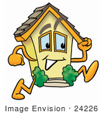 #24226 Clip Art Graphic Of A Yellow Residential House Cartoon Character Running