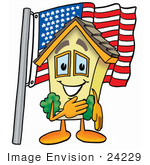 #24229 Clip Art Graphic Of A Yellow Residential House Cartoon Character Pledging Allegiance To An American Flag