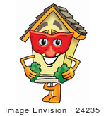 #24235 Clip Art Graphic Of A Yellow Residential House Cartoon Character Wearing A Red Mask Over His Face