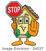 #24237 Clip Art Graphic of a Yellow Residential House Cartoon Character Holding a Stop Sign by toons4biz
