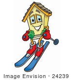 #24239 Clip Art Graphic Of A Yellow Residential House Cartoon Character Skiing Downhill