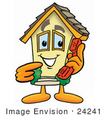 #24241 Clip Art Graphic Of A Yellow Residential House Cartoon Character Holding A Telephone