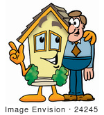 #24245 Clip Art Graphic Of A Yellow Residential House Cartoon Character Talking To A Business Man