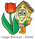 #24246 Clip Art Graphic Of A Yellow Residential House Cartoon Character With A Red Tulip Flower In The Spring