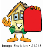 #24248 Clip Art Graphic Of A Yellow Residential House Cartoon Character Holding A Red Sales Price Tag