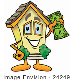 #24249 Clip Art Graphic Of A Yellow Residential House Cartoon Character Holding A Dollar Bill
