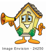 #24250 Clip Art Graphic Of A Yellow Residential House Cartoon Character Holding A Megaphone