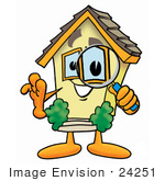 #24251 Clip Art Graphic Of A Yellow Residential House Cartoon Character Looking Through A Magnifying Glass