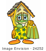 #24252 Clip Art Graphic Of A Yellow Residential House Cartoon Character In Green And Yellow Snorkel Gear