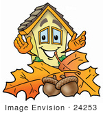 #24253 Clip Art Graphic Of A Yellow Residential House Cartoon Character With Autumn Leaves And Acorns In The Fall