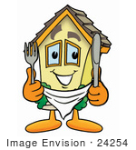 #24254 Clip Art Graphic Of A Yellow Residential House Cartoon Character Holding A Knife And Fork