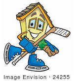 #24255 Clip Art Graphic Of A Yellow Residential House Cartoon Character Playing Ice Hockey